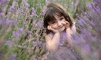 Young girl in a Lavender field